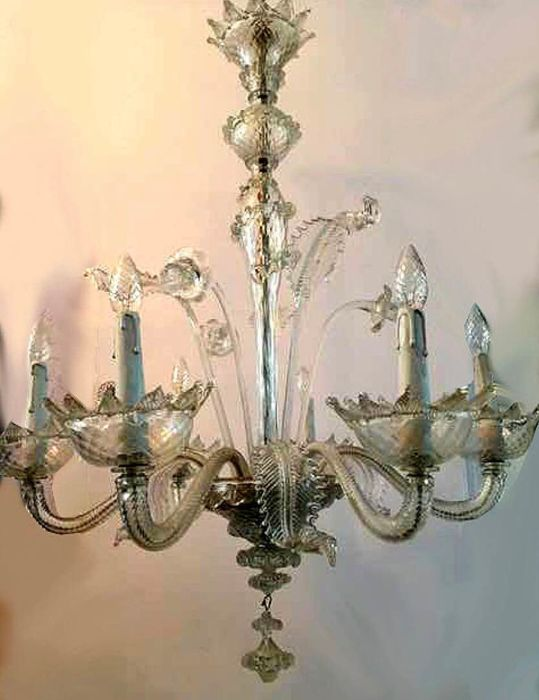 Six light complete Murano style chandelier hand blown with flowers - 1st half of 20th century