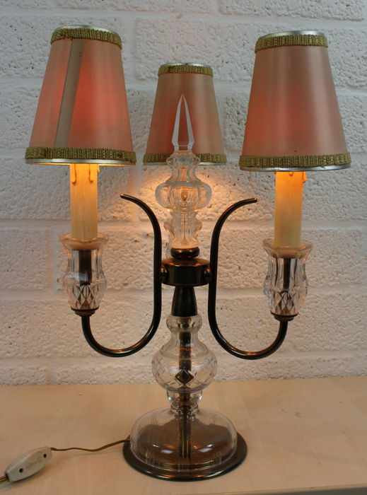 Glass Three Light Table Lamp In A Brass Frame With Fabric Shades