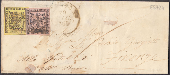 Modena 1852 - 10 cents pink and. 15 cents yellow on letter from Fivizzano to Florence - Sassone NN. 2 e 3