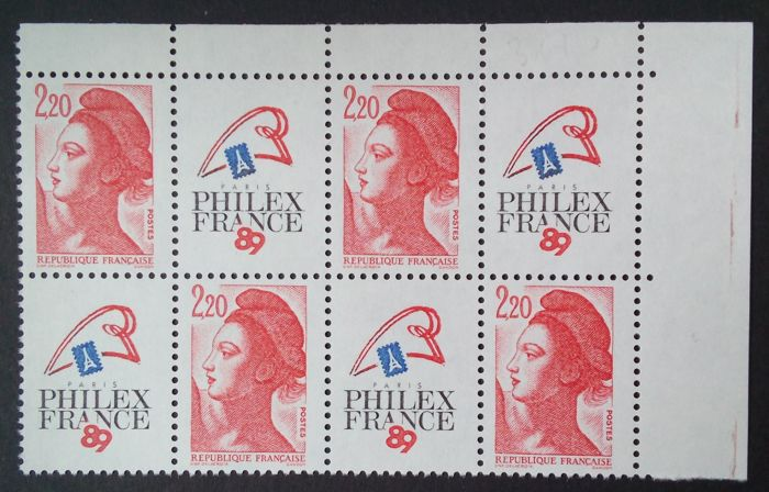 France 1987 - Philexfrance 89, block of 4, without phosphorus - Maury 2466a