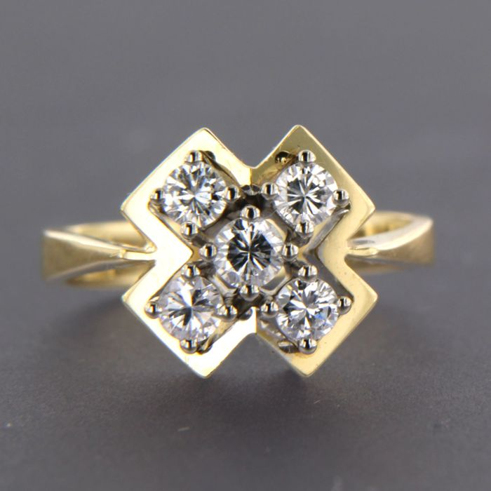 - no reserve price - 18 kt, bi-colour gold ring set with 5 brilliant cut diamonds, approx. 0.54 carat in total