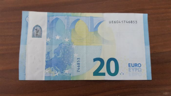 European Union - France - 20 Euro 2015 - Draghi - Error note - White strip