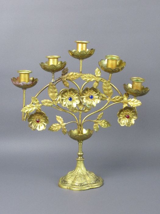 Gilt bronze 5-arm candle holder with leaves and coloured rhinestones - Italy - c. 1900