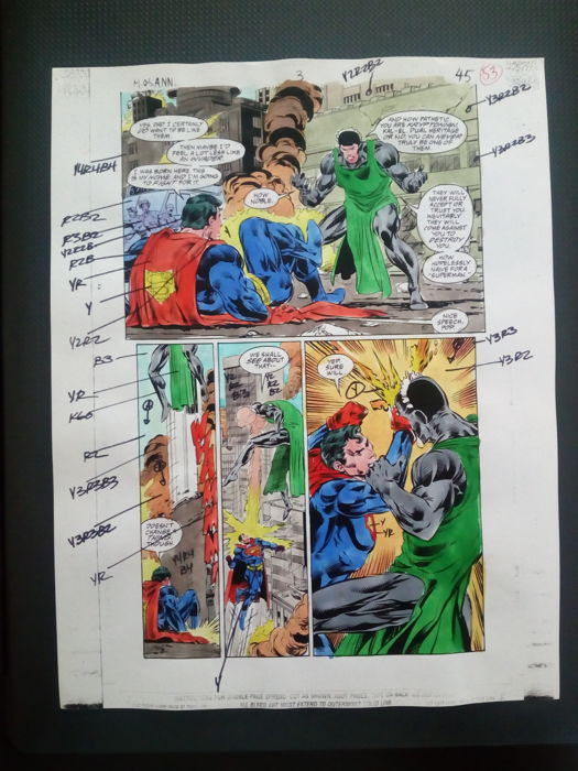 superman / batman : man of steel annual - Original hand coloured / inked page with corection - Other - (1996)