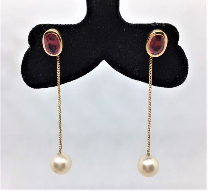 Dangling Stud Earrings - 14 Jellow Gold - Akoya Pearls - Rubies - Long: cm 5