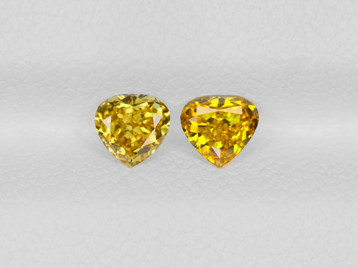 Pair of Fancy Yellow Color Diamonds - 0.45 ct