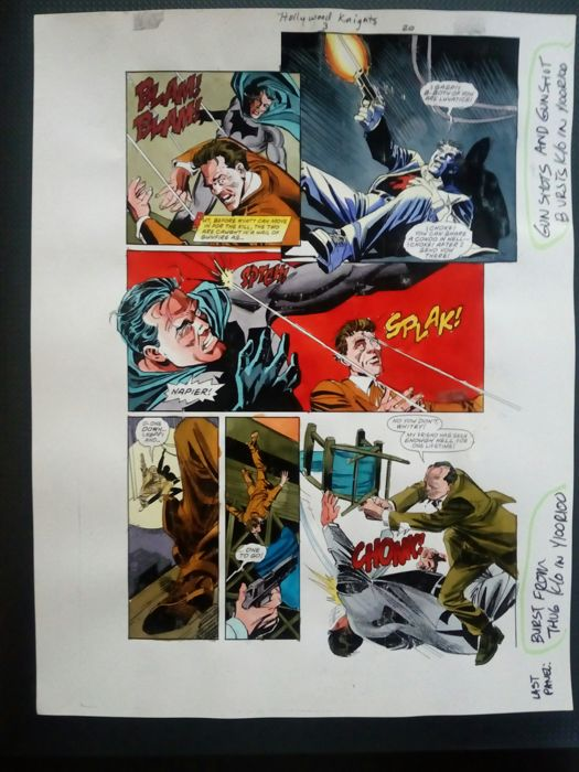 Batman : hollywood knight - Original hand coloured / inked page with corection - Other - (2001)