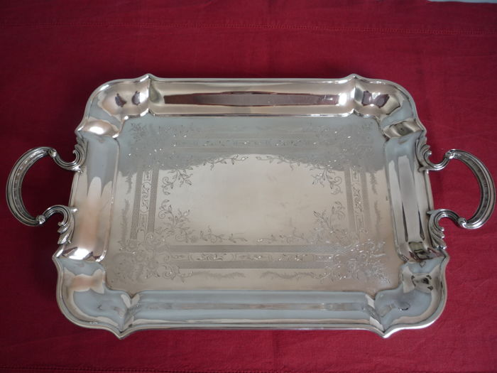 silver plated engraved serving tray with handles jurst england ca