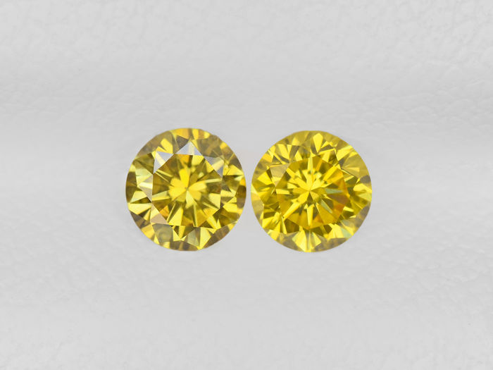 Pair of Fancy Yellow Color Diamonds - 0.38 ct