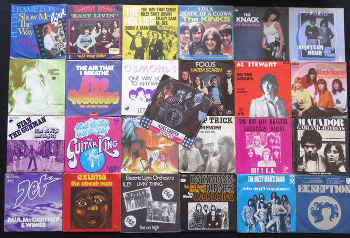Rockin' the Seventies (and a bit of the sixties): 25 original 45RPM 7inch singles from the 70's: Uriah Heep / ELO / Alice Cooper / The Kinks / The Hollies and many more...