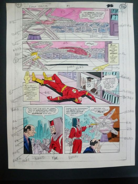 flash special - Original hand coloured / inked page with corection - Other - (2000)