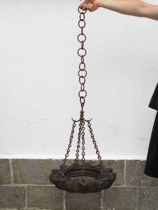 Terracotta and wrought iron suspended lantern made by Mannozzi Montopoli, Italy, early 1900s
