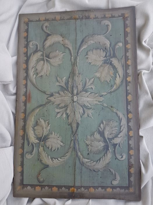 Spruce wood tile lacquered with plant motifs, Mantua, 19th century.