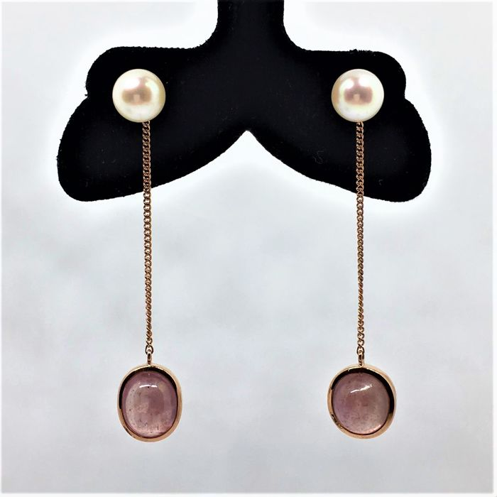 Dangling Stud Earrings - 14 K Pink Gold - Pink Sapphires - Akoya Pearls - Long: cm 5,50 - no reserve price