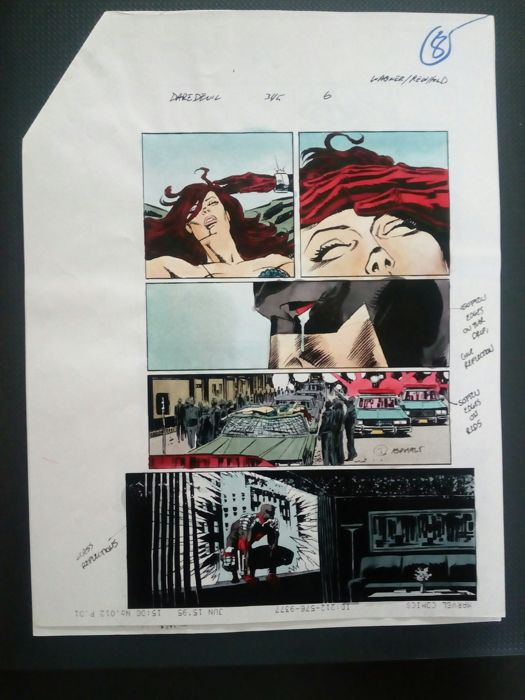 daredevil  343 - Original hand coloured / inked page with corection - Other - (1998)
