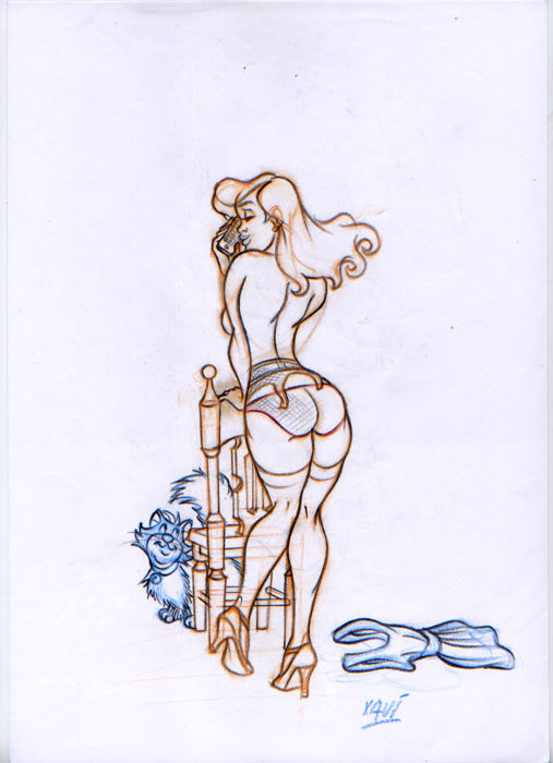Xavi (Xavier Vives Mateu) - Original drawing - Girl phoning 1 - (2010)