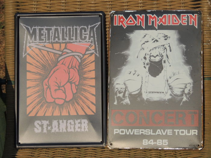 Two Stunning Metallica  - Iron Maiden - Metal Memorial Signs - Very Nice -