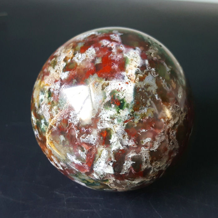 Beautiful Orbicular Ocean Jasper  Ball - 77 mm - 608 g