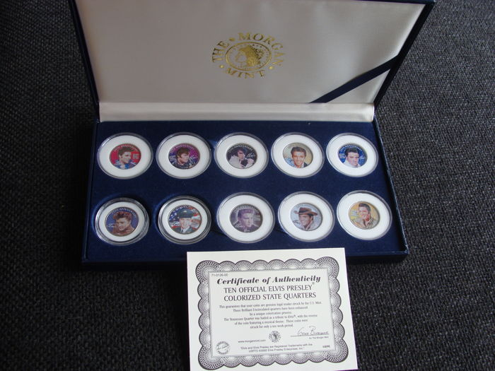 United States  - 25 Cents 2002 (State Quarters} 'Elvis Presley' gekleurd (10 stuks) in set
