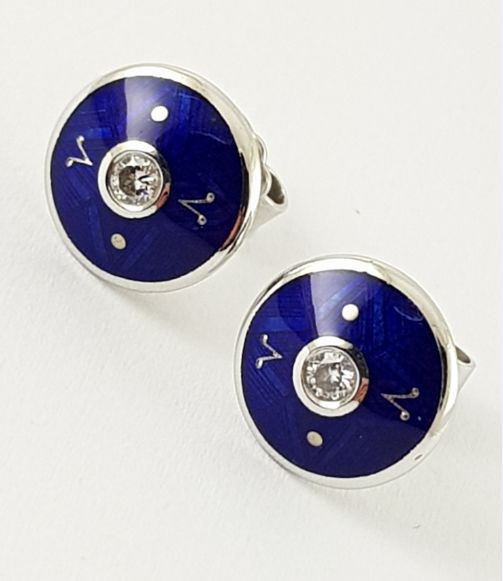 Fabergé - stud earrings, no. 18/200 - 750 white gold, enamelled blue - 1 brilliant-cut diamond each, IF, TW - box + certificate