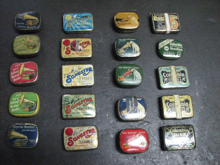Set of 20 different Gramophone needle boxes