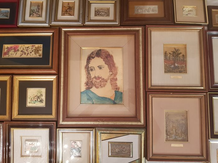 Interesting lot of 22 pictures crafted on gold leaf 22/23 kg and silver leaf 800/925 - many are also signed