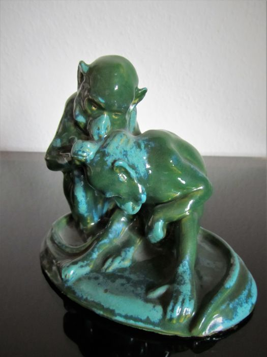 Monkey sculpture, attributed to P. Zsolnay