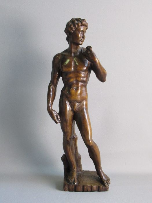 David statue sculpture by Michelangelo copy - Beech wood - Period around 1950