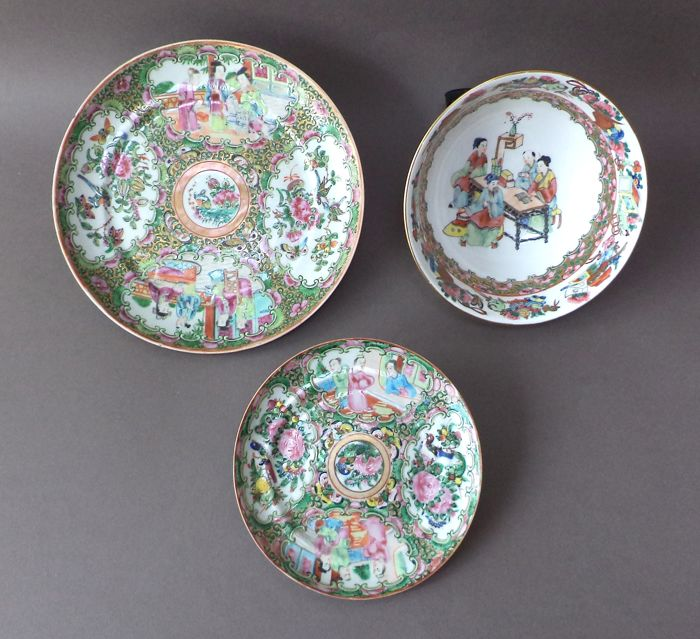 Lot of Cantonese porcelain dishes 1850 - 1899 and a bowl circa 1950 ...