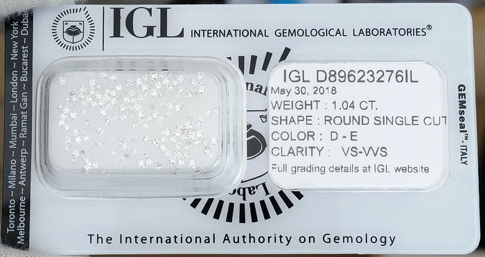 Lot of 155 Round Single Cut Diamonds 1.04 ct, D-E / VVS-VS, IGL