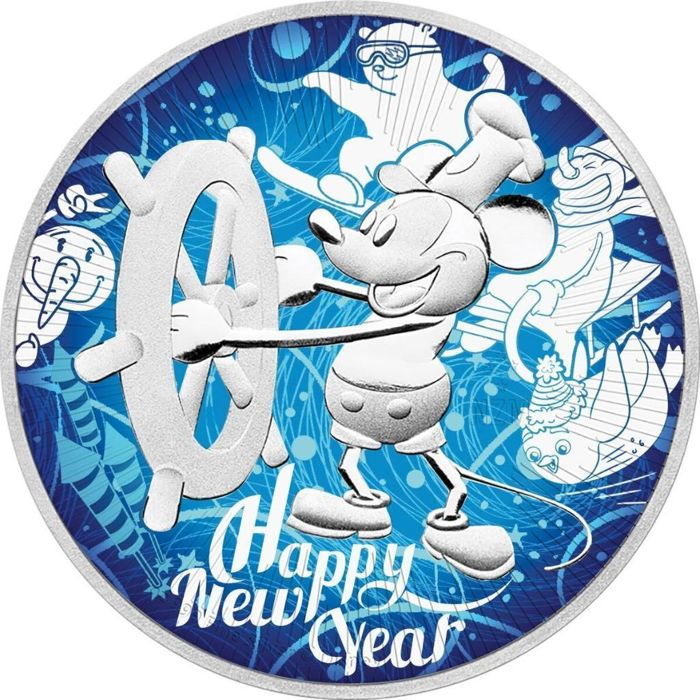 Niue - 2 Dollar 2017 - Steamboat Willie/ Mickey Mouse Happy Neu Year - 1 oz - Zilver