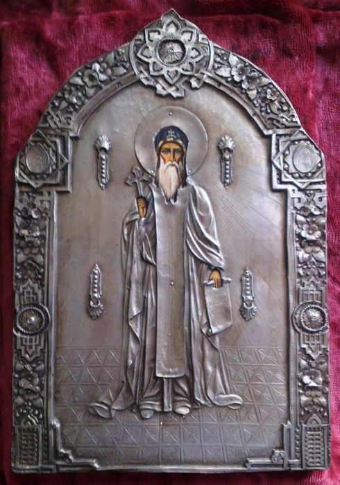 Unique Byzantine silver orthodox icon of St. Joan Rilski century 19th century
