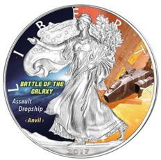 United States - 1 Dollar, 2017 - 1 oz Silver, coloured - (Silver Eagle - Battle of the Galaxy)