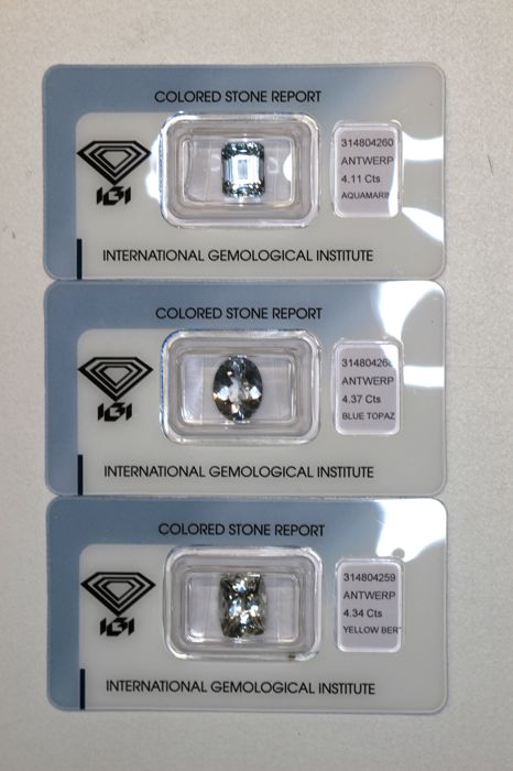 Collectors Lot of 3 Gemstones - Aquamarine, Topaz , Beryl  of a total 12.82 ct