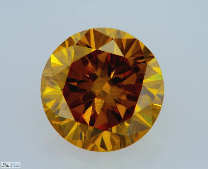 1 pcs Diamond - 0.52 ct - Round - fancy deep brownish yellowish orange - GIA