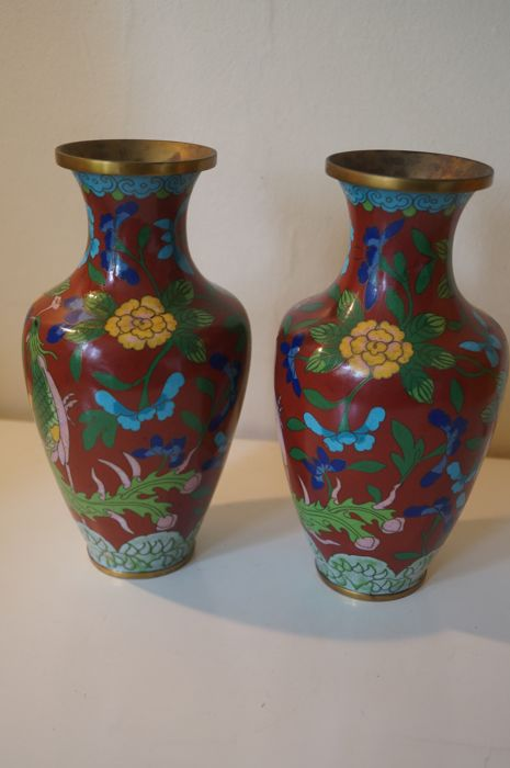 A Pair Of Cloisonn Baluster Vase China Mid Late Xx Century
