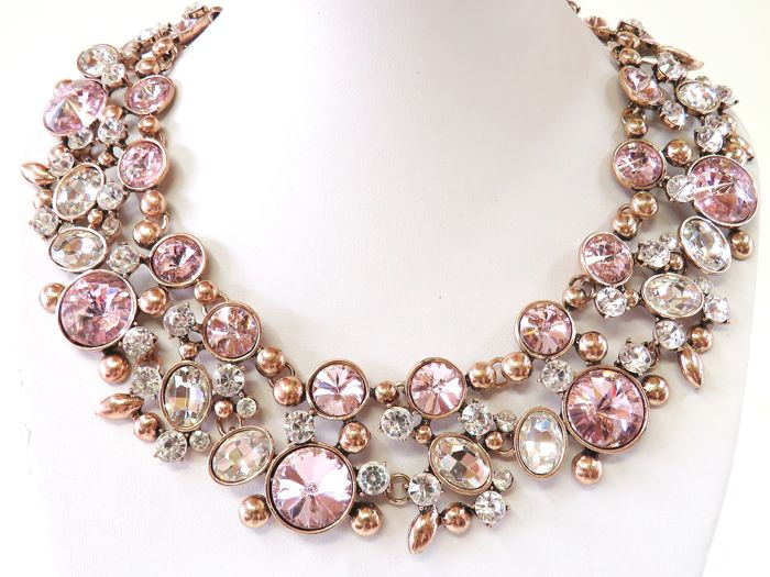 Oscar de la Renta - Pink and Clear Crystal Necklace - Signed