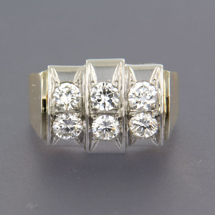 18 kt Gold with 950 PT platinum ring set with brilliant cut diamonds of approx. 1.20 ct in total