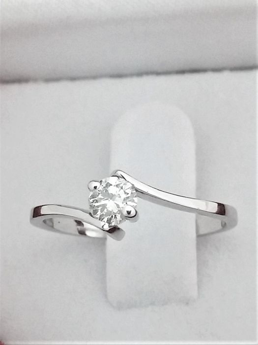 Solitaire Diamond Ring 0.28 ct  - 14K White Gold - Size : FR -55.5 , USA-7 1/4