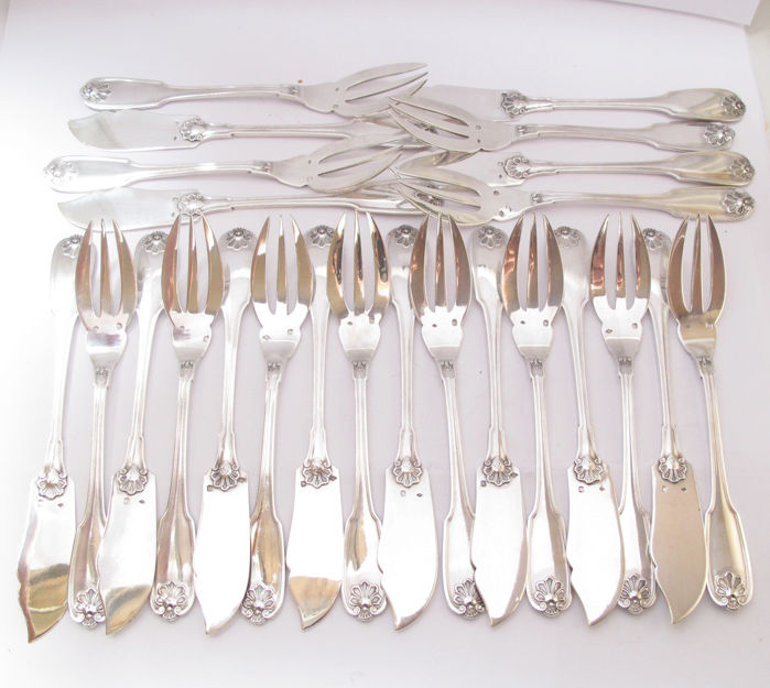 French Silver Fish Flatware for 12 persons