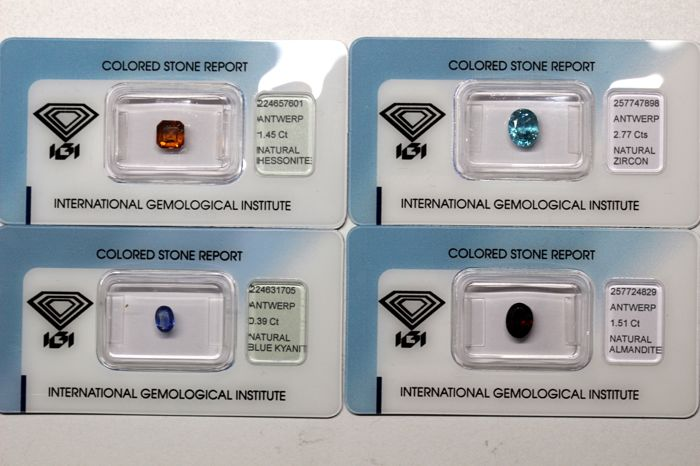 Collectors Lot of 4 Gemstones - Zircon, Hessonite, Kyanite and Almandite of a total 6.12 ct