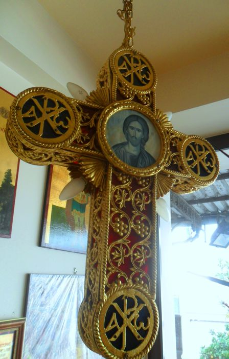 Great Beautiful Church Cross Lamp With Jesus Christ And Mother Of
