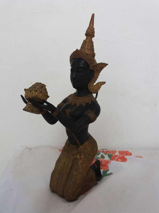 Black bronze and gold statue (approx. 40 cm) - Thailand - second half of the 20th century