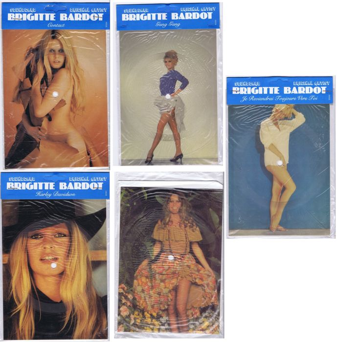 BRIGITTE BARDOT - collection of 5 different single sided Picture Disc Sound Cards (carton) plus envelopes