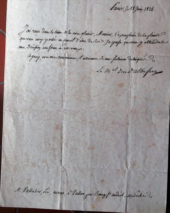 Letter written on watermarked paper and signed by Marshal Suchet, Duke of Albufera 1770-1824
