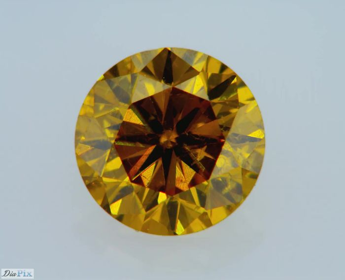 1 pcs Diamant - 0.37 ct - Rund - fancy deep orangy yellow - GIA