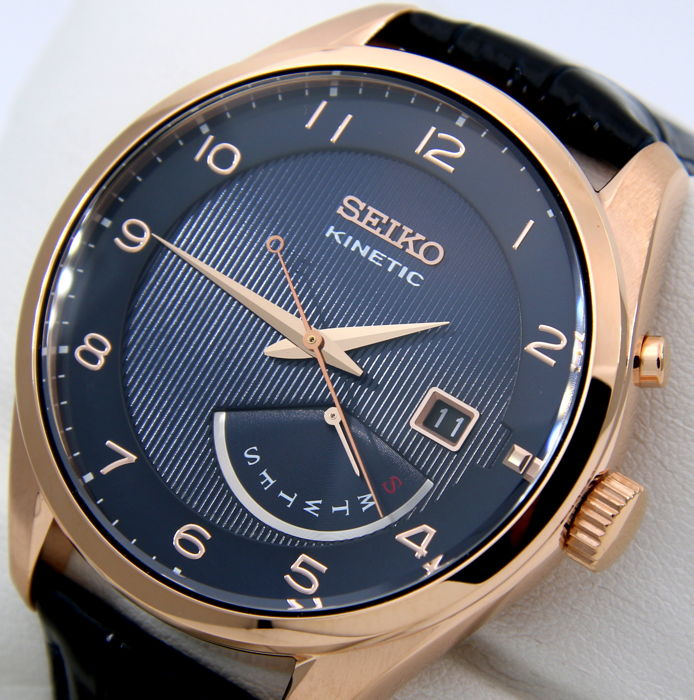 "Seiko - Kinetic Day/Date ""Gold-Blue Leather"" - New - Men - 2018"