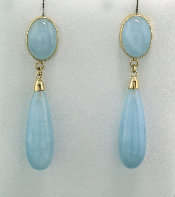 Aquamarine dangle earrings, 40 00 carat in total, 585 yellow gold --- no  reserve price - Catawiki