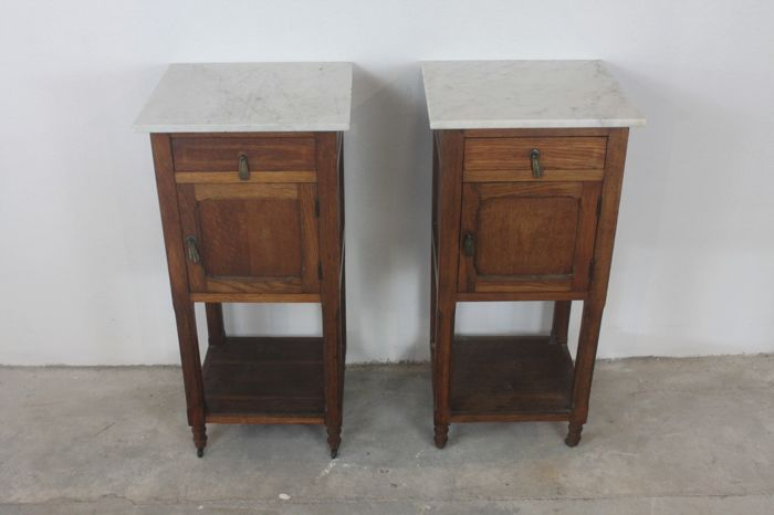 Set of antique wooden bedside tables with marble top - Netherlands, 1st half 20th century