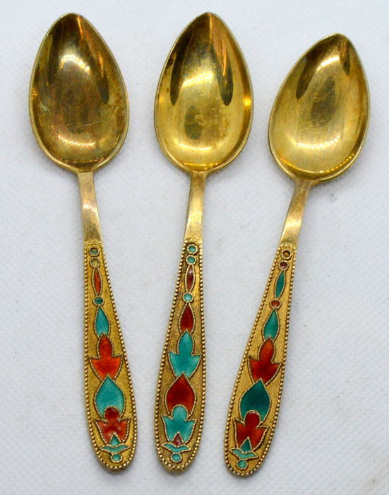 875 Silver Spoons with enamel (3 pieces), Russia, after 1958, total 46 gr
